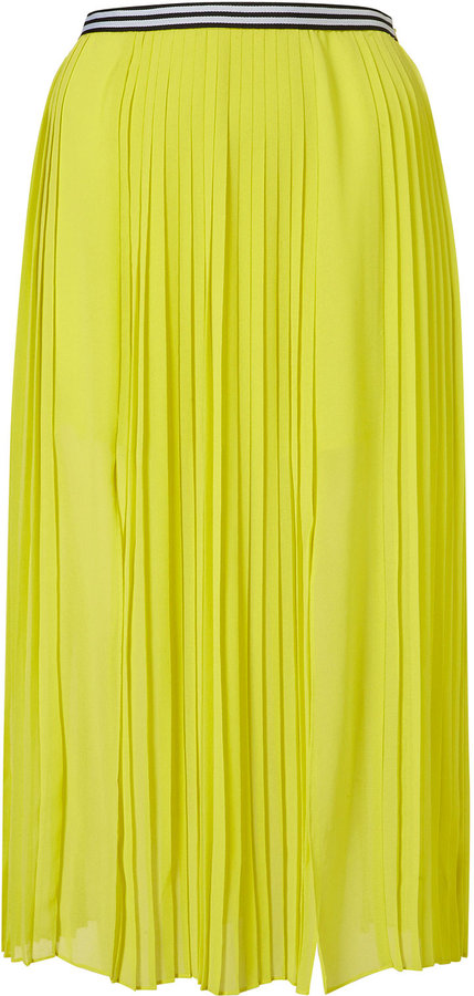 Pleat Calf Skirt