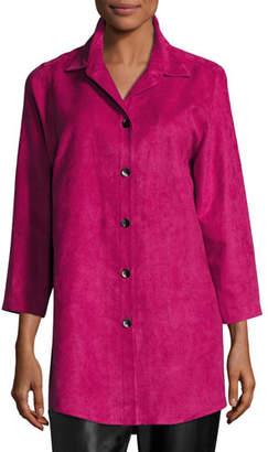 Caroline Rose Modern Faux-Suede Long Shirt, Petite