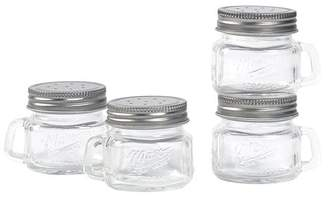 Mason Craft & More Mason Craft and More 2 Ounce Round Glass Salt and Pepper with Handle and Silver Metal Lid, Set of 4