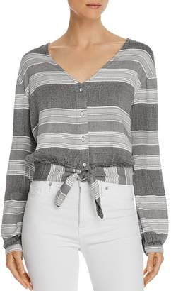 Bella Dahl Tie-Front Striped Cropped Top