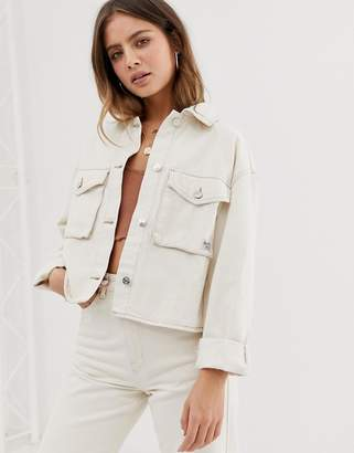 Bershka pocket front utility denim jacket in beige