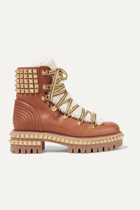 Christian Louboutin Yeti Donna Shearling-trimmed Studded Leather Ankle Boots - Brown