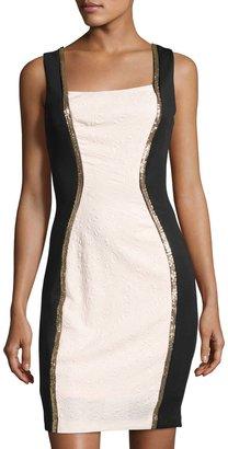 JAX Sleeveless Jacquard Sheath Dress, Pink/Black $99 thestylecure.com