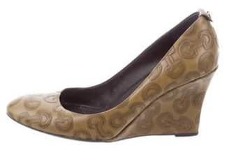 Gucci Leather Wedge Pumps Olive Leather Wedge Pumps