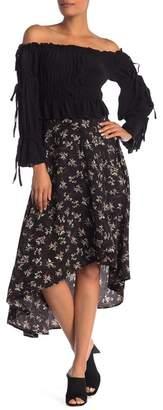 Fanco Patterned Asymmetrical Midi Skirt