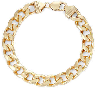 FINE JEWELRY Mens 18K Yellow Gold Over Silver 9, 11mm Curb Chain Bracelet