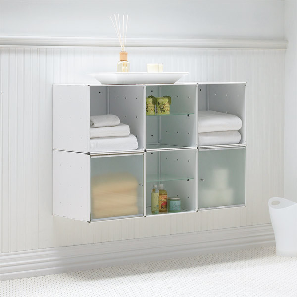 Wall-Mounted Enameled QBO Steel Cube Cabinet