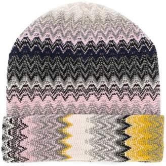 Missoni geometric pattern beanie hat