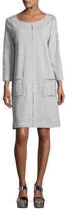 Joan Vass 3/4-Sleeve Embellished Shift Dress, Petite