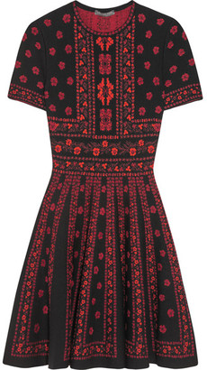 Alexander McQueen - Jacquard-knit Mini Dress - Red $2,145 thestylecure.com