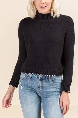francesca's Jane Whipstitch Cropped Sweater - Black/White