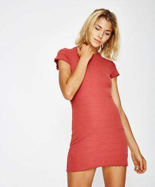 Subtitled Ruby Ribbed Bodycon Dress Red
