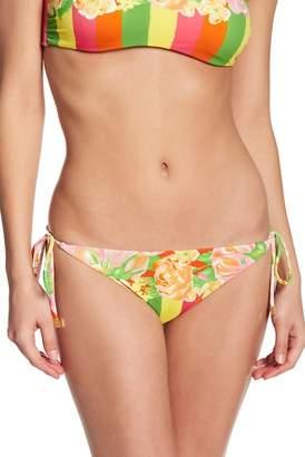 Versace Floral & Colorblock Stripe Side Tie Bikini Bottoms