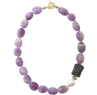 Farra - Nugget Amethyst & Rhinestones Short Necklace