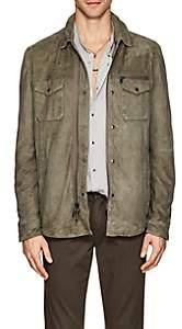 John Varvatos Men's Suede Shirt Jacket-Olive