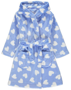George Blue Heart Print Dressing Gown