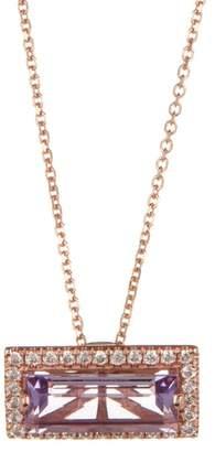 Suzanne Kalan 14K Rose Gold Rose de France White Diamond Baguette Pendant Necklace