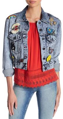 Alice + Olivia Chloe Pin Embellished Crop Denim Jacket