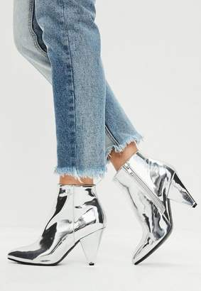 Missguided Silver Cone Heel Ankle Boots