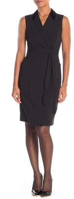 Modern American Designer Velvet Collar Wrap Dress