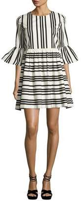 Alice + Olivia Augusta Striped Ruffle-Sleeve Dress, Black/White $330 thestylecure.com