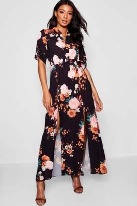 boohoo Collarless Woven Floral Maxi Shirt Dress