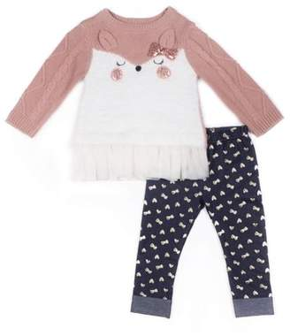 Little Lass Fox Critter Tulle Layered Sweater & Printed Knit Denim Jeans, 2pc Outfit Set (Baby Girls & Toddler Girls)