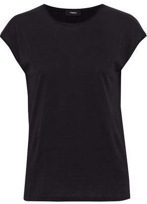Theory Mélange Cotton And Cashmere-Blend Jersey Top