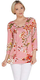 Belle by Kim Gravel Tropical Print Knit Topwith Tassels