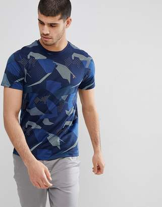 Farah Northenden Slim Fit All Over Print T-Shirt in Navy