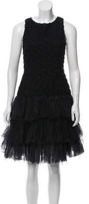 Oscar de la Renta Embellished Tiered Dres