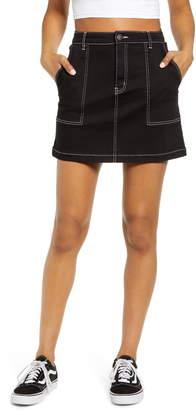Prosperity Denim Contrast Stitch Denim Utility Miniskirt
