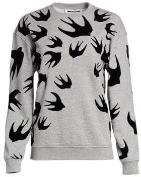McQ Swallow-Print Cotton Sweatshirt