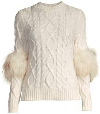 Elie Tahari Audrey Silver Fox Fur Cable-Knit Merino Wool Sweater