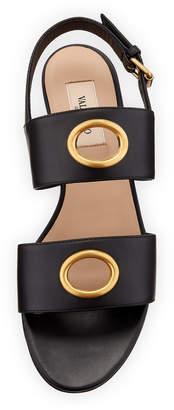 Valentino Eyelet-Embellished Flat Leather Sandals