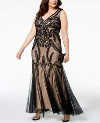 Betsy & Adam Plus Size Soutache Godet Gown