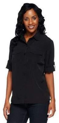 Susan Graver Peachskin Solid Roll Tab Shirt