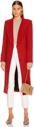 Smythe Peaked Lapel Coat in Brick | FWRD