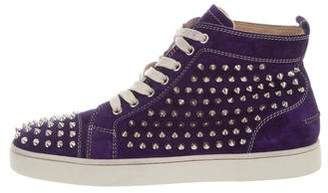 Christian Louboutin Louis Spikes Flat Suede Sneakers