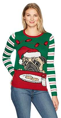 Ugly Christmas Sweater Company Women's Light Up-Pug W/Cookies and Milk