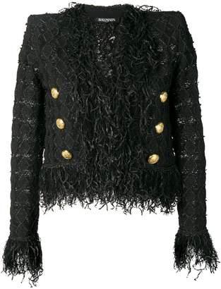 Balmain cropped fringe jacket