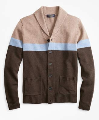 Brooks Brothers Merino Wool Color-Block Shawl Collar Cardigan