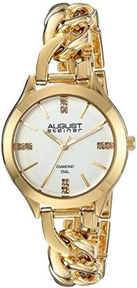August Steiner Women's Genuine Diamond Gold-Tone Case with Silver-Tone Dial and Gold-Tone Steel Chain Link Bracelet Watch AS8222YG