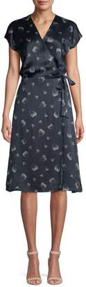 Joie Bethwyn Heart Print Silk Wrap Dress