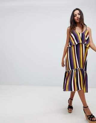 boohoo Bold Stripe Ruffle Hem Midi Dress