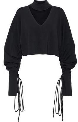 SOLACE London Samara Cropped Cutout Stretch-Knit Top