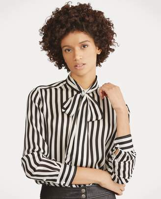 Ralph Lauren Tie-Neck Striped Silk Blouse
