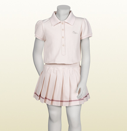 Gucci Light Pink And White Stretch Piquet Pleated Dress