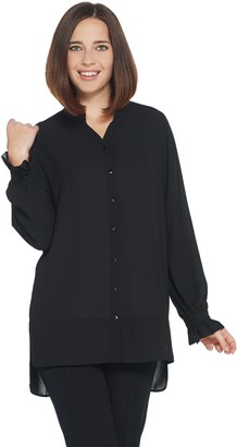 GRAVER Susan Graver Woven Button-Front Y-Neck Shirt