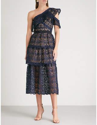 Self-Portrait Asymmetric guipure-lace midi dress